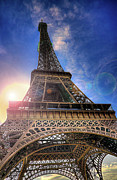 Eiffel Tower Metal Prints - Eiffel Tower Sunset Metal Print by Darkerphoto