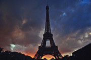 Jeka World Photography Prints - Eiffel Tower Sunset Print by Jeka World Photography
