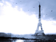 Surreal Eiffel Tower Art Photos - Eiffel Tower Surreal Blue by Kathy Fornal