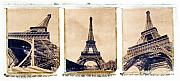 Polaroid Transfer Prints - Eiffel Tower Print by Tony Cordoza