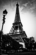 Black And White Paris Posters - Eiffel Tower with vignetting Poster by Micah May