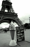 Black And White Paris Posters - Eiffel with Ice Cream Cone Poster by Kathy Yates