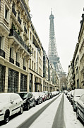 Car Culture Framed Prints - Eiffer Tower Under Snow Covered Street Framed Print by © Yanidel