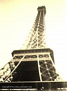 Black And White Paris Mixed Media Posters - Eiffle Tower Poster by Jamey Balester