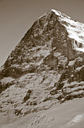 Old Photo Posters - Eiger North Face Poster by Frank Tschakert