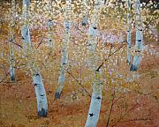 Gold Leaf Paintings - Eight Birches by John Cmar