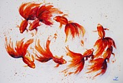 Golden Fish Art - Eight dancing goldfish  by Zaira Dzhaubaeva