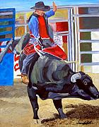 Bull Riding Paintings - Eight Long Seconds by Michael Lee