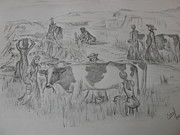 Cows Drawings Posters - Eight Maids a Milking Poster by Carol Frances Arthur