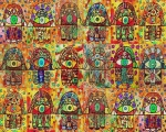 Eighteen Chai Hamsas Print by Sandra Silberzweig