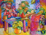 """indoor"" Still Life  Painting Framed Prints - Eighteen past Twelve Framed Print by Ana Goldberger"