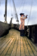 Candle Lit Prints - Eighteenth Century Man with Spyglass on Ship Print by Jill Battaglia