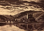 Scratchboard Paintings - Eilean Donan by Sheep McTavish