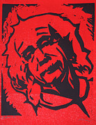 Linocut Linoluem Drawings Framed Prints - Einstein 2 Framed Print by William Cauthern