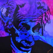 Peoria Artists Paintings - Einstein-All Things Relative by Bill Manson