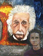 Albert Einstein Paintings - Einstein and Curie by Doris Cohen