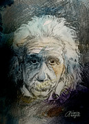  Old Face Mixed Media Framed Prints - Einstein Framed Print by Arline Wagner