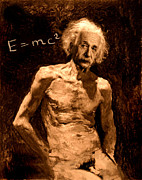 Karine Percheron-daniels Prints - Einstein Relatively Nude Print by Karine Percheron-Daniels