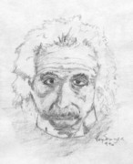 Quantum Drawings - Einstein Study by Kay Sawyer