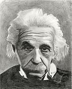 Einstein Drawings - Einsteins Eyes by Charles Vogan