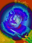 Albert Einstein Paintings - EINSTIEN Red White and Blue by Tray Mead