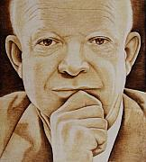 Portrait Pyrography Metal Prints - Eisenhower - The Man  Metal Print by Jo Schwartz