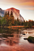 Park Scene Posters - El Capitan And Lake At Sunset Poster by Susan Gary