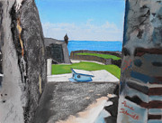 Puerto Rico Pastels Originals - El Christo Castille in Old San Juan by Dana Schmidt