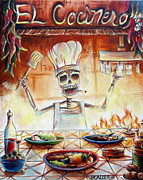 Skeletons Posters - El Cocinero Poster by Heather Calderon