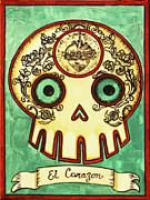 El Corazon Calavera Loteria Print by Maryann Luera