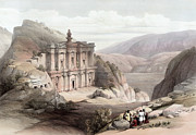 Holy Land Drawings - El Deir Petra 1839 by Munir Alawi