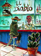 Drinking Painting Framed Prints - El Diablo Framed Print by Heather Calderon
