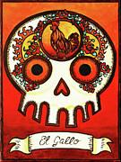 El Gallo Calavera Loteria Print by Maryann Luera
