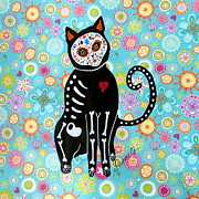 Gato Paintings - El Gato Dia De Los Muertos by Pristine Cartera Turkus