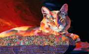 Feline Cat Art Paintings - El Gato Sonata by Bob Coonts