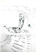 Ancient Rome Drawings - El Jem sketch by Marie BernardJames