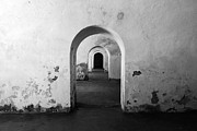 El Morro Fort Barracks Arched Doorways San Juan Puerto Rico Prints Black And White Print by Shawn OBrien
