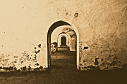 Puerto Rico Digital Art - El Morro Fort Barracks Arched Doorways San Juan Puerto Rico Prints Rustic by Shawn OBrien