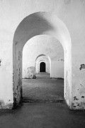El Morro Fort Barracks Arched Doorways Vertical San Juan Puerto Rico Prints Black And White Print by Shawn OBrien