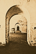 Rustic Digital Art Posters - El Morro Fort Barracks Arched Doorways Vertical San Juan Puerto Rico Prints Rustic Poster by Shawn OBrien