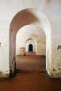 Puerto Rico Framed Prints - El Morro Fort Barracks Arched Doorways Vertical San Juan Puerto Rico Prints Framed Print by Shawn OBrien