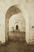 Destinations Digital Art Digital Art - El Morro Fort Barracks Arched Doorways Vertical San Juan Puerto Rico Prints Vintage by Shawn OBrien