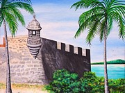 Old San Juan Painting Metal Prints - El Morro Metal Print by Juan Gonzalez