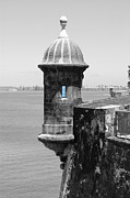 El Morro Sentry Tower Color Splash Black And White San Juan Puerto Rico Print by Shawn OBrien