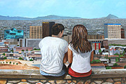 Scenic Drive Paintings - El Paso - Enjoying The View - Disfrutando El Panorama by Maritza Jauregui Neely