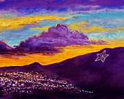 Night Scene Posters - El Pasos Star Poster by Candy Mayer