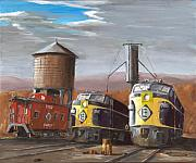 Railroads Paintings - EL Power by Christopher Jenkins