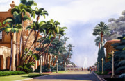 Palms. Palm Trees Prints - El Prado in Balboa Park Print by Mary Helmreich