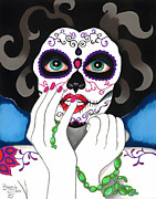 Makeup Drawings Posters - El Rosario Sagrado Poster by B Marie