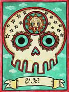 El Sol Calavera Loteria Print by Maryann Luera
